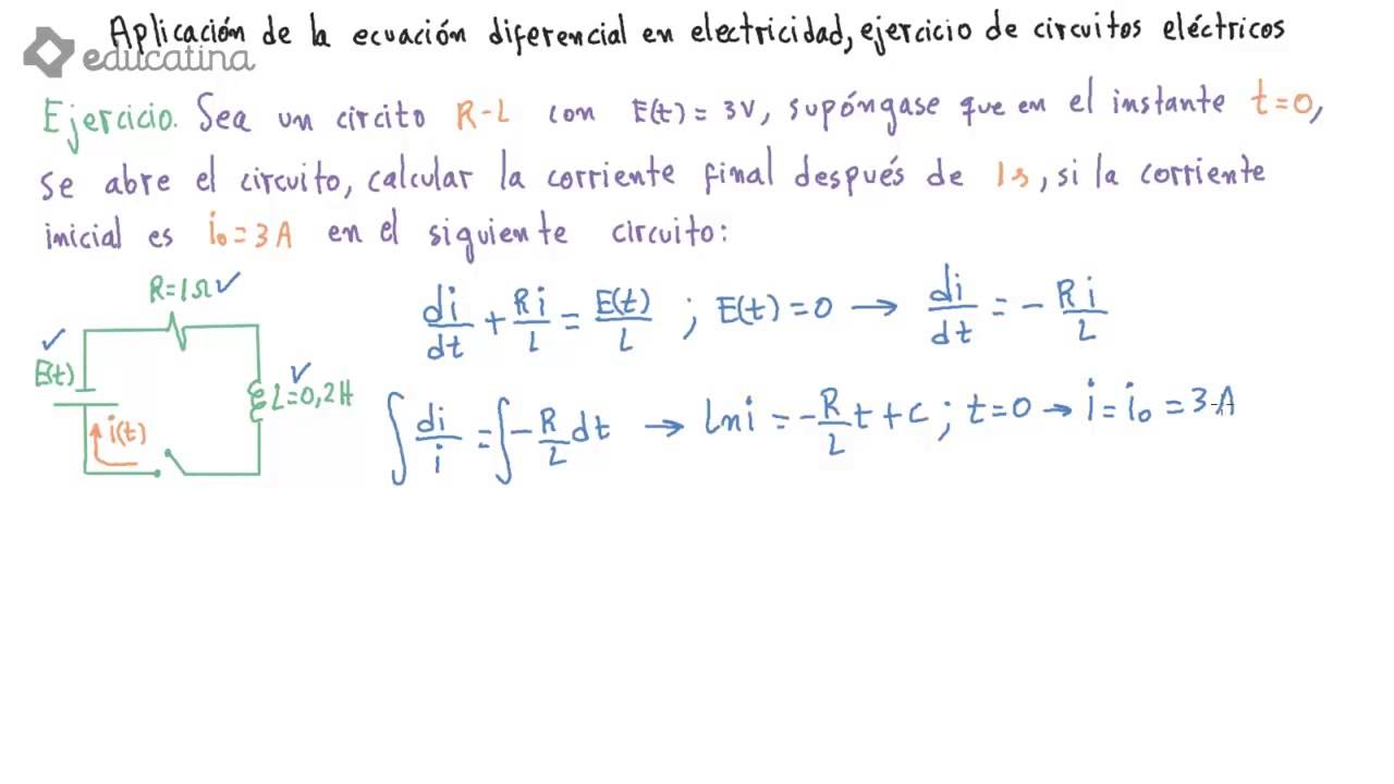 Circuito Rlc Ecuaciones Diferenciales : Educatina aplicación de la ecuación diferencial en