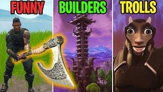 NEW SEASON 5 VIKING AXE! FUNNY vs BUILDERS vs TROLLS! Fortnite Battle Royale Funny Moments