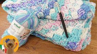 Tejiendo una manta para bebé | 70 x 90 cm | De esquina a esquina tutorial paso a paso