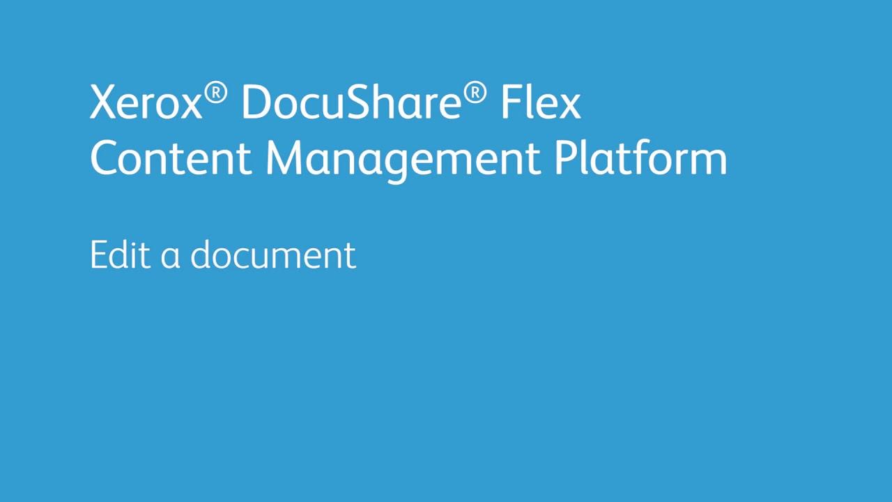 Xerox DocuShare Flex Content Management Platform: Edit a Document YouTube Videosu
