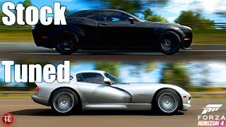 Forza Horizon 4: Stock vs Tuned! Dodge Demon vs Dodge Viper GTS ACR