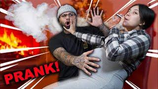SMOKING A CIGARETTE WHILE PREGNANT PRANK ON BOYFRIEND!!!