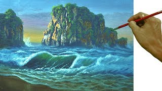 Acrylic Painting Tutorial How To Paint Rocky Mountain On Beach With Crashing Waves In Palette Knife