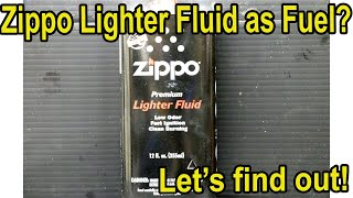 Zippo Lighter Fluid as Fuel in a Gasoline Engine? Let