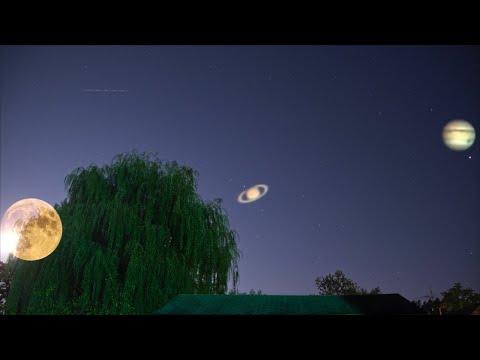 Full Moon Rising Along with Jupiter & Saturn