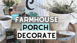 DECORATE WITH ME | FARMHOUSE PORCH DECOR DECORATING | PORCH DECOR IDEAS | FARMHOUSE DIY
