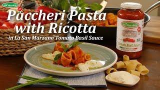 Paccheri Pasta with Ricotta in La San Marzano Tomato Basil Sauce