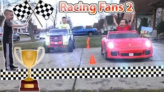 Power Wheels Driveway Racing with Fans! | KidTraxx Sportrax Peg Perego Vehicle Collection