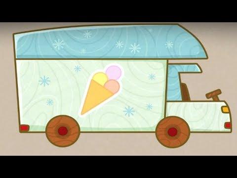 Coches de juguete. El camión frigorífico. Dibujos animados para niños.