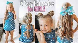 5 Easy Hairstyles For Girls | Back To School Hair Ideas For Little Girls!!