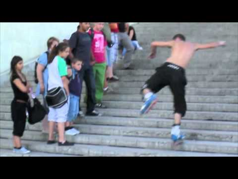 Tack-Tack RollerBlading Freestyle Downstairs in front of Eiffel Tower!