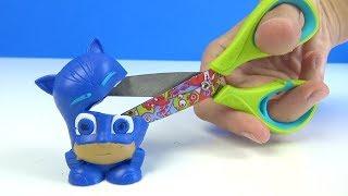Pijamaskeliler Kedi Çocuk Mashems oyuncağı kesip ışıklı Kertenkele Gece Ninjası oyuncakları açıyorum