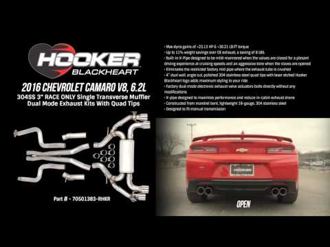 2016 Camaro V8, 6.2L RACE ONLY Single Transverse Muffler Dual Mode Exhaust Kits with Quad Tips