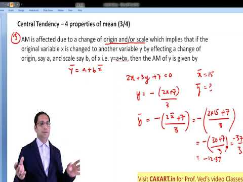 Stats Properties of Arithmetic Mean Lecture by Prof Ved