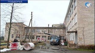Рабочие завершают восстановление пострадавших от урагана крыш социальных объектов Поддорья