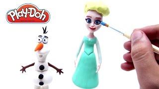Play Doh Frozen Stop Motion Elsa & Olaf! Playdough Animación de Disney Frozen