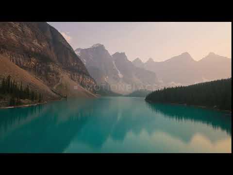 Lake at sunset. Timelapse.