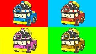 РОБОКАР ПОЛИ - Мультик с машинками - Раскраска - Учим цвета - Все серии подряд - Robocar Poli