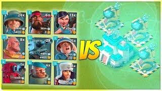 Boom BEACH 3 MAX Sky Shields VS Every Troop! Crazy Shield HP!
