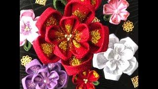 【100均材料だけで キラキラつまみ細工】kanzashi Flower  髪飾り作り方