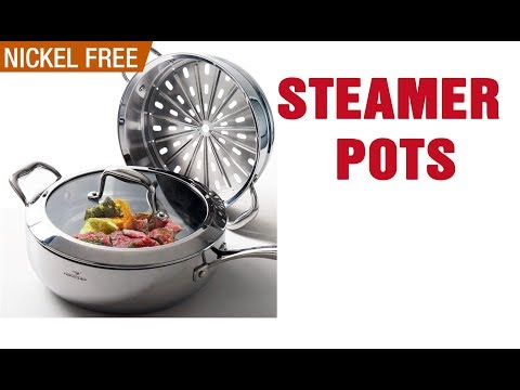 , Chef's Star 3 Piece Stainless Steel Stack and Steam Pot Set – 2 Quart Steamer and 3 Quart Saucepot Set with Lid and Pots