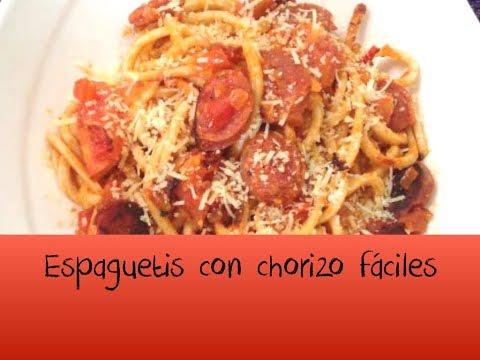Espaguetis con chorizo - Muy fácil
