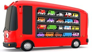 Colors for Children to Learn with Bus Transporter Toy Street Vehicles - Educational Videos