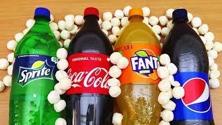 EXPERIMENT Mentos vs Coca Cola, Pepsi, Fanta, Sprite