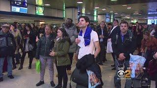 Passengers Crowd Penn Station