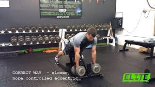 Correct and Incorrect Low Incline DB Row