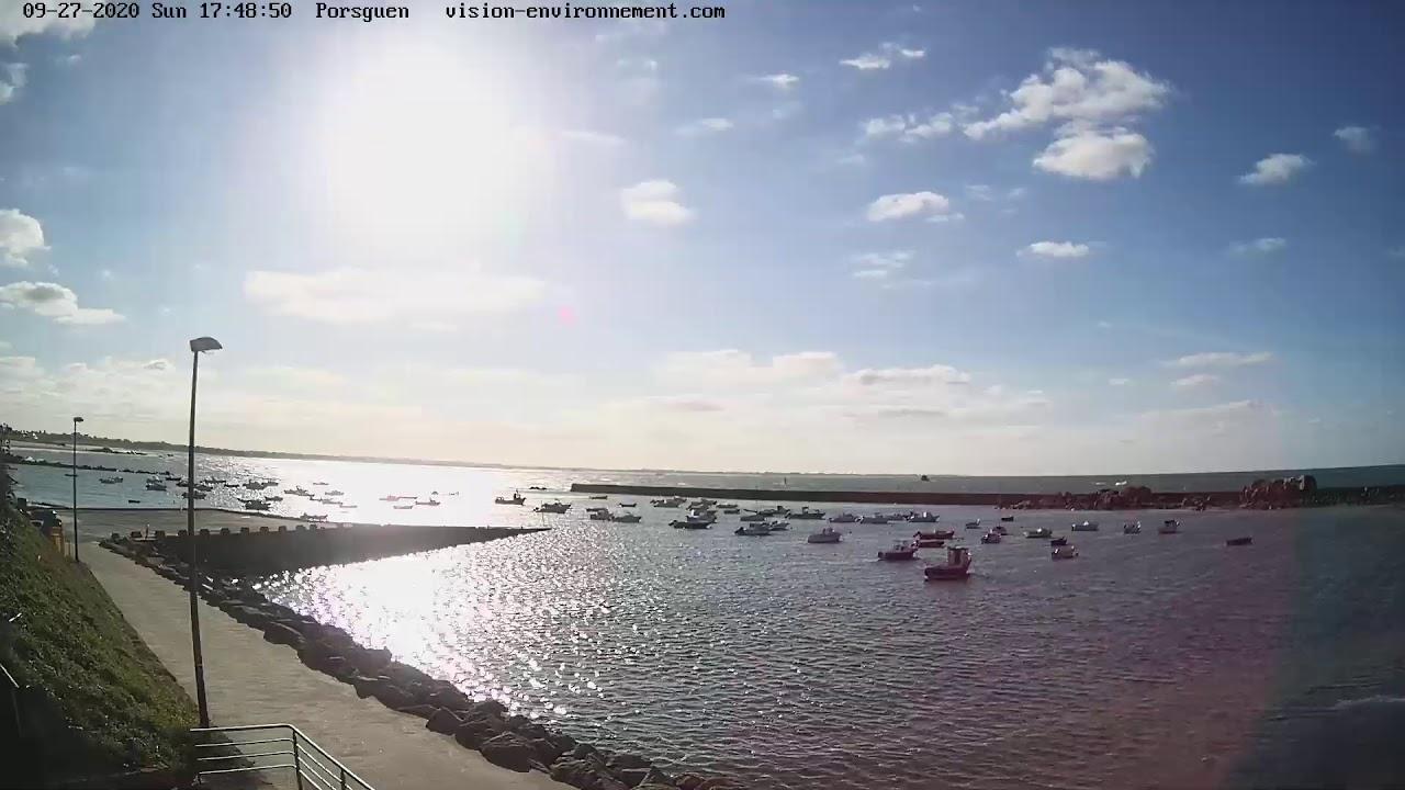 Vue en direct de la plage de Port Mer à Cancale