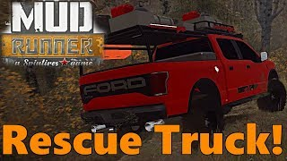 SpinTires Mud Runner: Mod Review - Diesel S10 and BEST RESCUE TRUCK!!