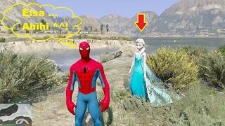 GTA 5 Mod - Spider-man chở Nữ hoàng băng giá Elsa đi chơi biển ^_^