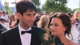Lara Pulver & Raza Jaffrey - Red Carpet (2012 BAFTA TV)