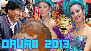 preview picture of video 'Carnaval de Oruro 2013, Banda Poopo Evo Morales bailando morenada.'
