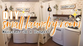 DIY SMALL LAUNDRY ROOM MAKEOVER ON A BUDGET | DECORATING IDEAS FOR SMALL SPACES | MODERN FARMHOUSE