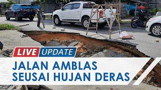 Drainase Rusak, 1 Ruas Jalan di Depan Kawasan Ruko Amblas Seusai Hujan Deras Guyur Pekanbaru