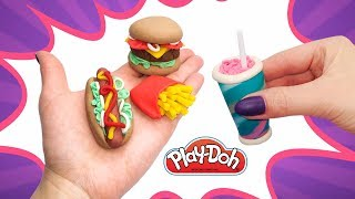 Play Doh Miniature Food for Dolls. How to make Mcdonalds Menu. Educational Video. DIY for Kids