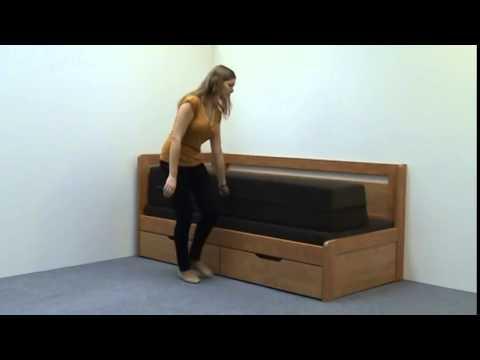 Video BMB Postel Tandem KLASIK s levou područkou - imitace dřeva Dekor: Bílá, Provedení: rovné, Rozměr: 90/180 x 200 cm 5