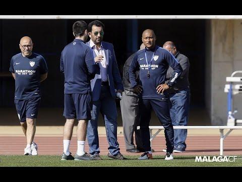 El presidente Al Thani animó a la plantilla del Málaga en el entreno