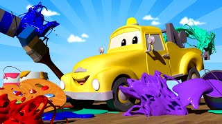 Baby Cars -  Paint Your Favorite SUPER HERO With the Baby Cars in Car City! - Cartoon for kids