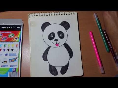 Como dibujar un oso panda para niños /Drawing a panda bear for kids