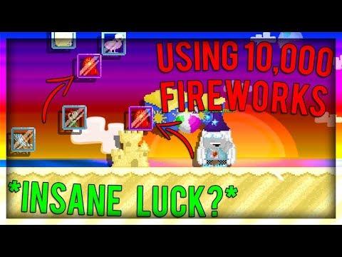 Growtopia - Using 10,000 Fireworks! Got Super Fireworks!!! *Insane Luck?*