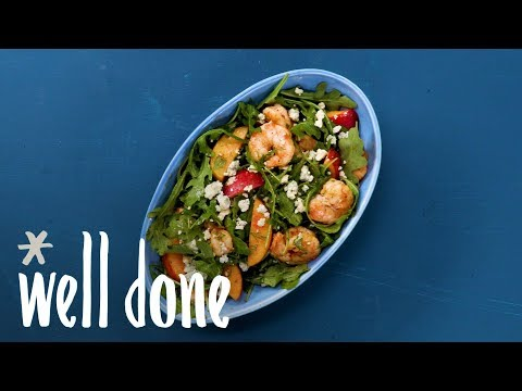 How To Make Shrimp And Peach Salad | Recipe | Well Done