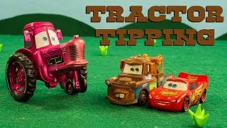 "Mater & Lightning McQueen GO Tractor Tipping Disney Pixar Cars ""Tractors is Dumb"""