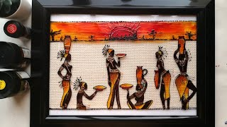 Easy Glass Painting DIY||Beautiful African Dancing Lady Silhouette Wall Decor For Beginners