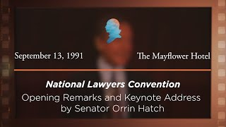 Click to play: Opening Remarks and Keynote Address by Senator Orrin Hatch [Archive Collection]