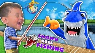 SHAWN's 1st Time FISHING!  Goldfish Challenge against Shark! (FUNnel Fam Vlog)
