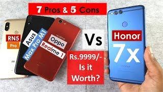 Honor 7x Top 7 Pros & 5 Cons   Honor 7x vs Asus max pro m1 vs Realme 1 vs Redmi Note 5 Pro