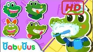 Baby Crocodiles Are Brushing Teeth | The Finger Family Song | Nursery Rhymes | BabyBus Kids Songs